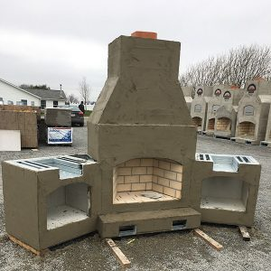 outdoor brick oven and fireplace in Ohio from Round Grove Products
