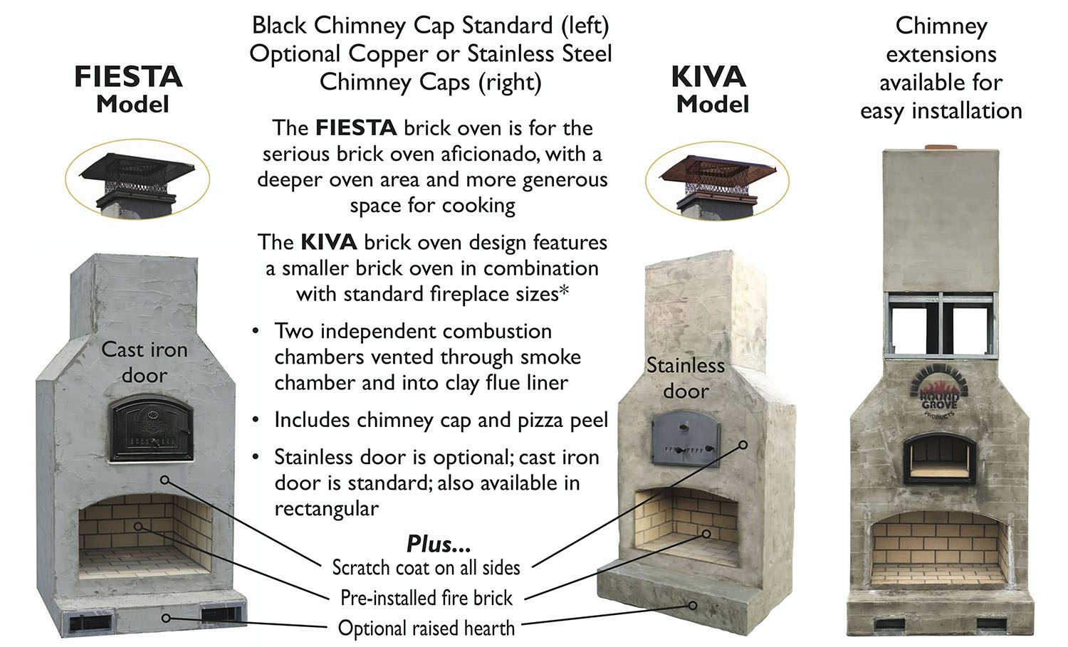 Outdoor Brick Oven Fireplace Combo Units Round Grove