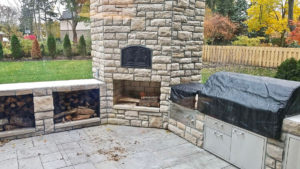 brick oven with fireplace in outdoor kitchen near wooster ohio - Outdoor kitchen inspiration