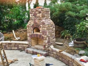 Outdoor Brick oven and fireplace, Round Grove Products