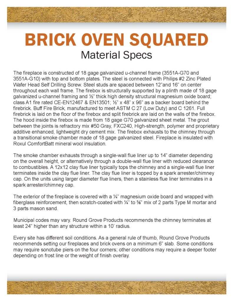 Outdoor brick ovens, Round Grove Products