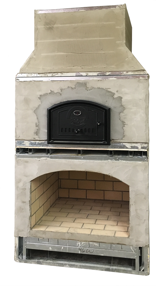 Outdoor Fireplace with Brick Oven and Chimney from Round Grove Products