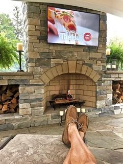 Outdoor Fireplace backyard entertainment