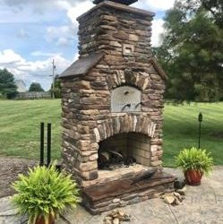 Outdoor Brick Oven with Fireplace from Round Grove Products