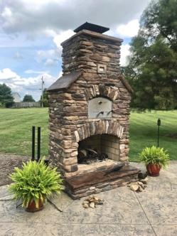 brick oven outdoor fireplace combo unit