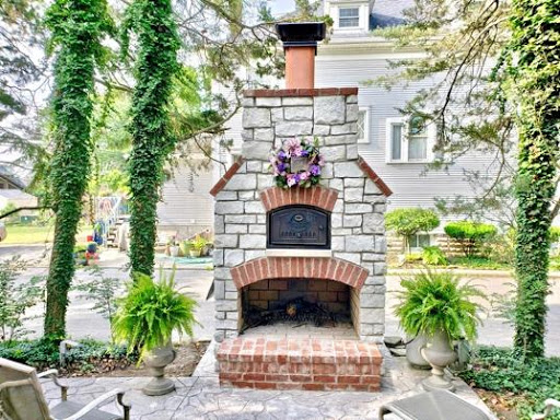 custom brick oven fireplace combo