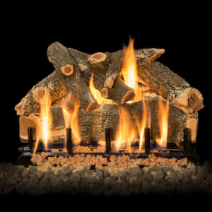 Outdoor fireplace gas wood