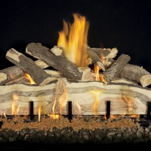 outdoor gas burning fireplace logs