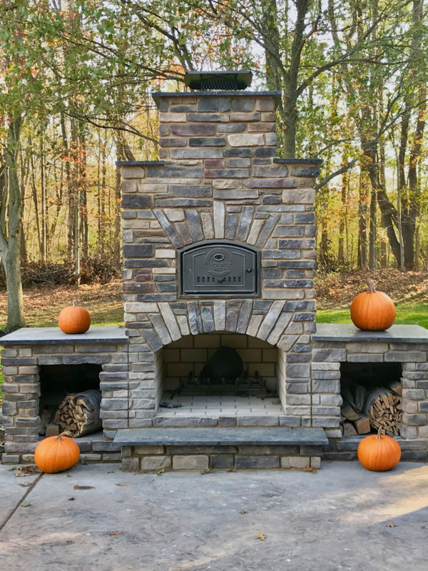 wood fired outdoor pizza oven and fireplace combo