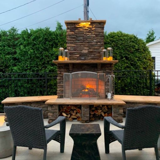 Outdoor Brick Fireplace from Round Grove Products